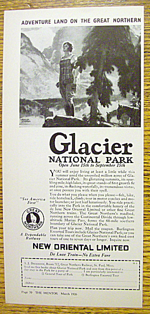 1926 New Oriental Limited With Glacier National Park