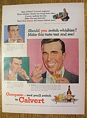1953 Calvert Whiskey With Man Taste Testing