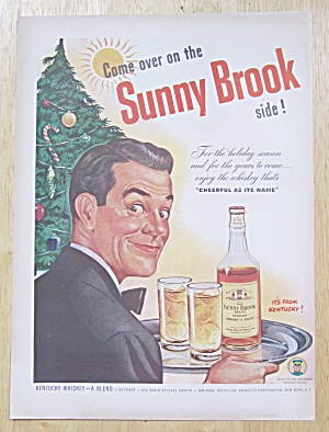 1947 Sunny Brook Whiskey With Man Serving Whiskey