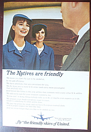 1966 United Air Lines With A Stewardess Talking To Man