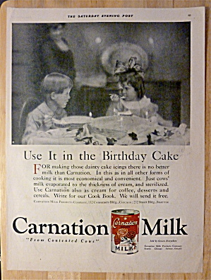 1921 Carnation Milk With Boy & Girl Sitting At Table