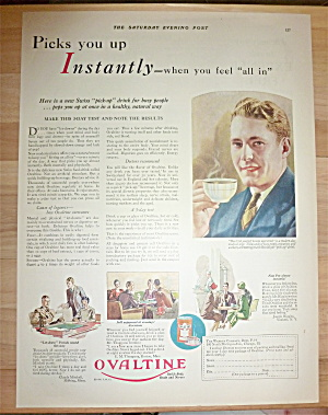 1928 Ovaltine With Man Drinking A Cup