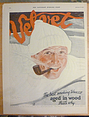 1923 Velvet Tobacco With Man Smoking Pipe