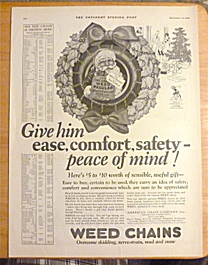 1925 Weed Chains With Santa Claus In The Middle Of Tire