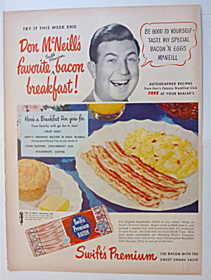 1950 Swift's Premium Bacon With Don Mc Neill