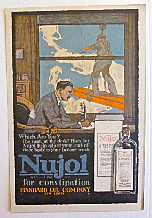 1917 Nujol For Constipation W/ Man Sitting At Table