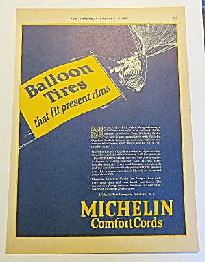 1924 Michelin Tires With Tire Man In Hot Air Balloon