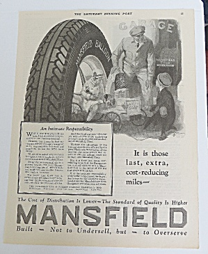 1925 Mansfield Tires With Man Helping Children