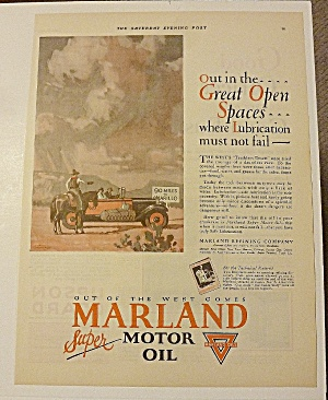 1928 Marland Motor Oil With Cowboy Giving Directions