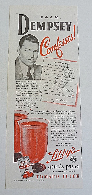1938 Libby's Tomato Juice With Jack Dempsey