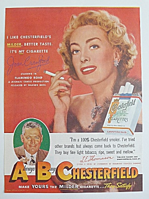 1949 Chesterfield Cigarettes With Joan Crawford