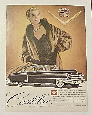 1951 Cadillac With Lovely Woman In Brown Fur