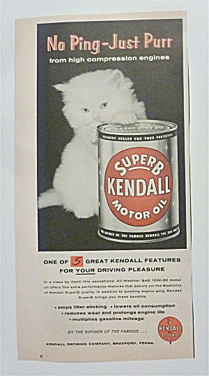 1957 Kendall Motor Oil With Little White Kitten