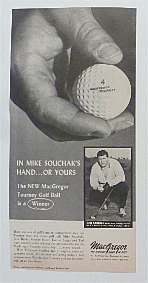 1957 Macgregor Tourney Golf Ball With Mike Souchak