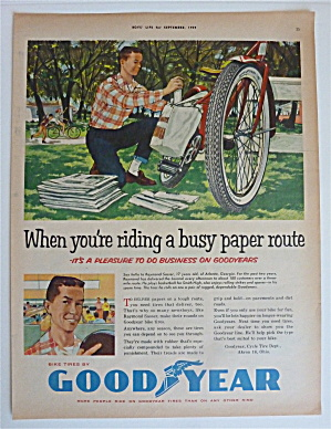 1959 Goodyear Tires With Boy Loading Papers On Bike