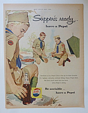 1960 Pepsi Cola (Pepsi) With Boy Scouts Eating At Camp