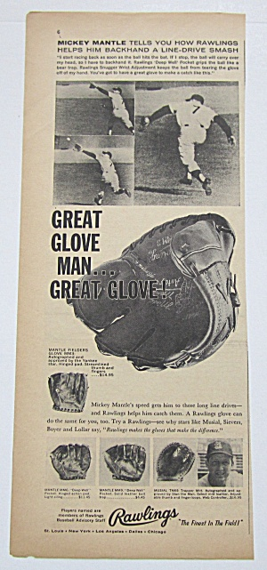 1959 Vintage Rawlings Baseball Glove With Mickey Mantle