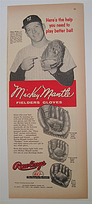 1958 Rawlings Fielders Glove With Mickey Mantle
