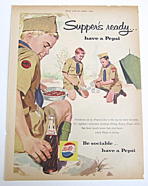 1960 Vintage Pepsi Cola With Boy Scouts Camping