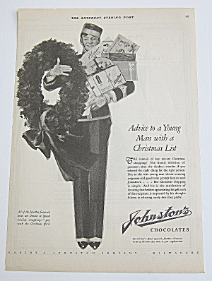1925 Johnston's Chocolates W/ Bellboy & Boxes Of Candy