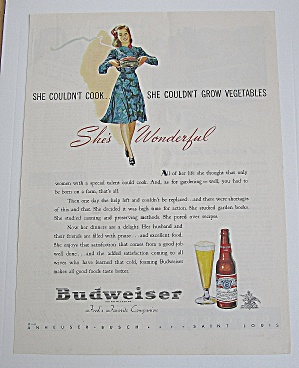 1943 Budweiser Beer With Woman Carrying Dinner