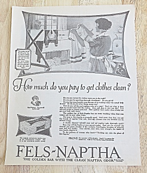 1924 Fels-naptha Soap With Woman Doing Laundry