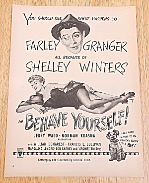 1951 Behave Yourself With Shelley Winters