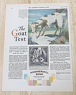1929 Hammermill Bond With Goat Test