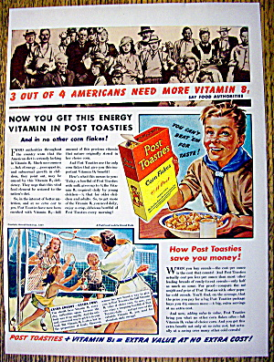 1940 Post Toasties W/ A Boy Scout With A Bowl Of Cereal