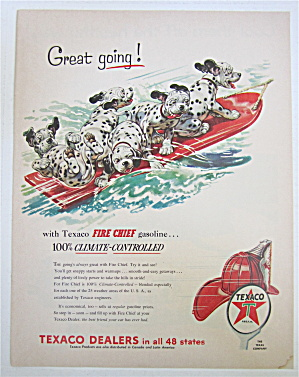 1954 Texaco Fire Chief Gasoline With Dalmatian Puppies