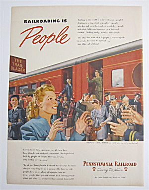 1945 Pennsylvania Railroad W/ Woman Greeting Soldier