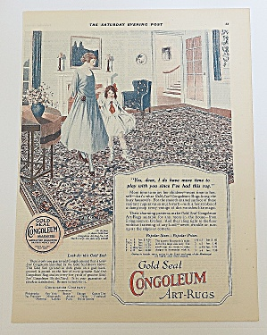 1923 Congoleum Rugs With Mom & Girl Dancing