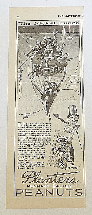 1924 Planters Peanuts With Men Fishing