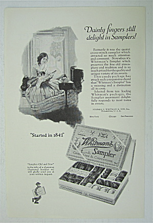 1925 Whitman's Sampler With Girl Cross Stitching