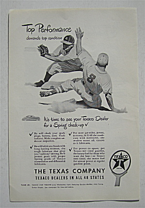 1948 Texaco With Baseball Player Sliding Into Base
