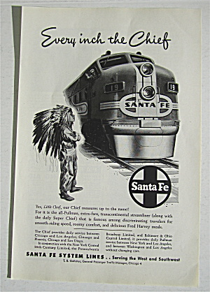 1948 Santa Fe With Little Indian Boy Watching Train