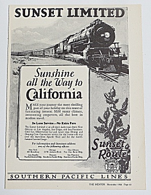 1926 Southern Pacific Lines With Sunset Route
