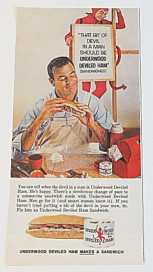 1963 Underwood Deviled Ham With Man & Sandwich