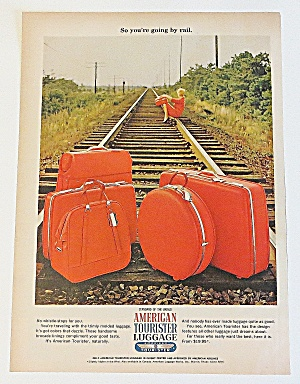 1966 American Tourist Luggage W Woman Sitting On Tracks