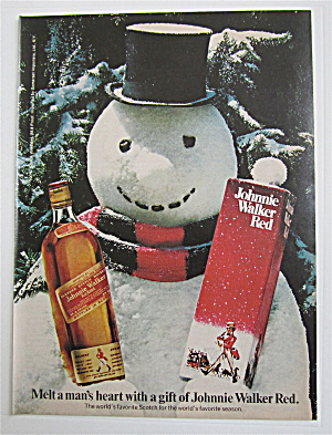 1974 Johnnie Walker Red With Snowman Holding A Bottle