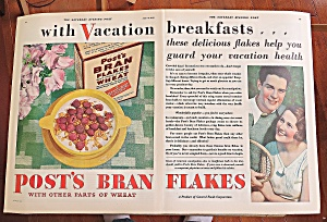 1930 Post Bran Flakes With Couple Smiling