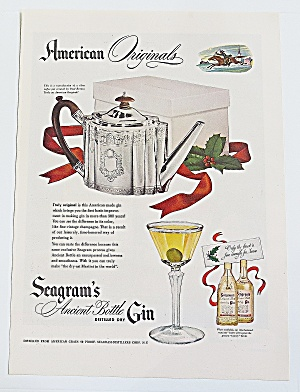 1946 Seagram's Gin With Silver Coffee Pot