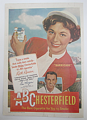 1950 Chesterfield Cigarettes W/ruth Roman & Ben Hogan