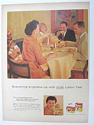 1957 Lipton Tea With Woman Pouring Tea For Man
