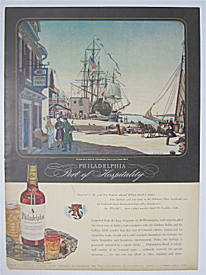 1944 Philadelphia Whiskey With Waterfront At Arch St.