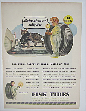 1945 Fisk Tires With Little Boy Looking At Cats