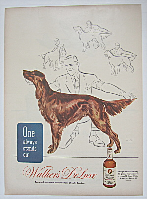 1945 Walker's Deluxe Whiskey With Man Looking At Dog