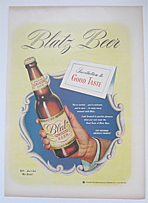 1945 Blatz Beer With A Hand Holding A Bottle Of Beer