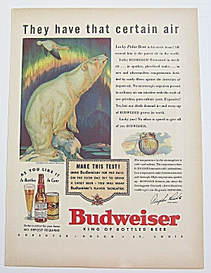 1937 Budweiser Beer With Lucky Polar Bear