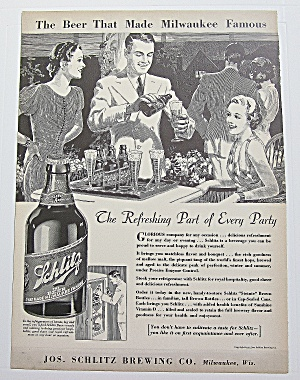1937 Schlitz Beer With Man Pouring Beer At Party